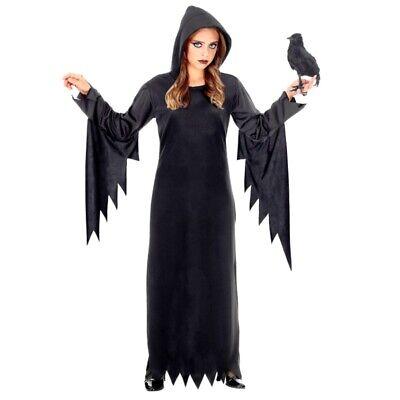 Dunkle Queen Kinder Kostüm schwarzes Kleid mit Kapuze -Halloween Fee Vampir Hexe