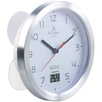 Baduhr: Badezimmer-Wanduhr mit LCD-Thermometer und Aluminium-Rahmen, IPX4