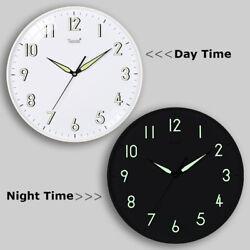 12'' Modern Large Luminous Quartz Wall Clock Non-ticking Glow In The Dark Silent