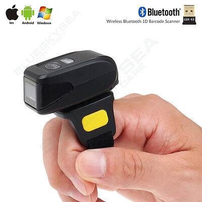 Wireless Btooth Barcode Scanner Qr Code Reader For Ios Android Finger Ring To
