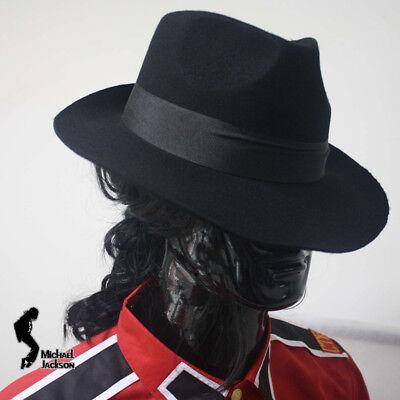 Michael Jackson Black Fedora (MJ Michael Jackson Black Wool Fedora Cap Classic Hat Billie Jean Collection)