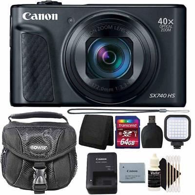 Canon PowerShot SX740 HS Digital Camera 40x Optical Zoom with 64GB PRO Kit Black Digital Camera Pro Kit