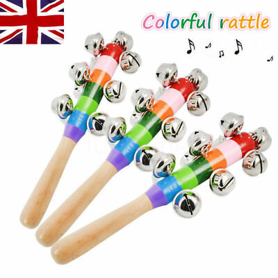 Baby Kids Rainbow Wooden Handle 10 Bells Jingle Stick Shaker Rattle Fun Toy Gift