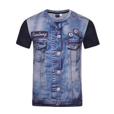 Herren Jeans Weste T-Shirt Shirts Kurzarm TOP M - 4XL Jeansblau Schwarz BC367 Western Arms M4