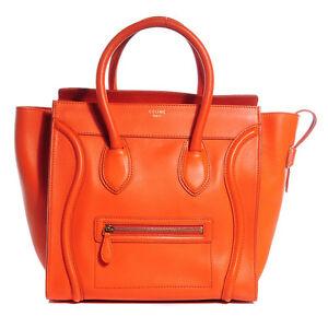 AUTHENTIC Celine mini luggage tote, orange, smooth leather