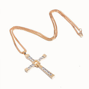 Collier Pendentif Croix Fast and Furious chaine homme bijoux