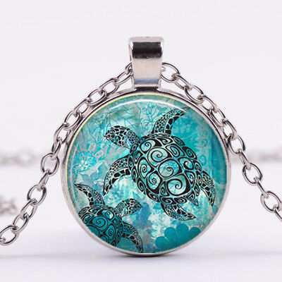 Aquamarine Jewelry - aquamarine blue sea turtle Glass dome Necklace chain Pendant Wholesale Silver