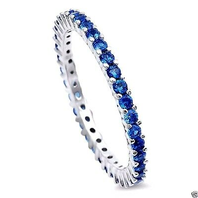 USA Seller Eternity Ring Sterling Silver 925 Best Jewelry Light Blue Sapphire