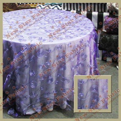 Tablecloth Round 108 inches Organza Ribbon Seamless Purple