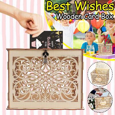 DIY Wooden Wedding Greeting Wishing Card &Money Box w/ Lock Home Party Decor