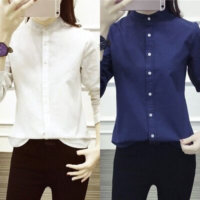Casual Solid Stand Collar - New Womens Long Sleeve Stand Collar Shirt Casual Cotton Button Down Blouse Tops