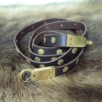 Leather Belt With Rosettes - Perfect For LARP / Re-Enactment