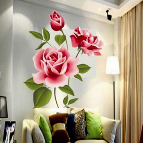 Home Decoration - Removable Rose Flower Wall Stickers Mural DIY Art Decal Home Living Room Decor
