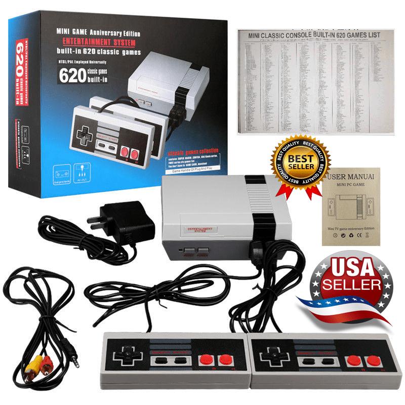 Mini Retro Game Nintendo NES Console 620 Built-In Classic Games 2 Controller