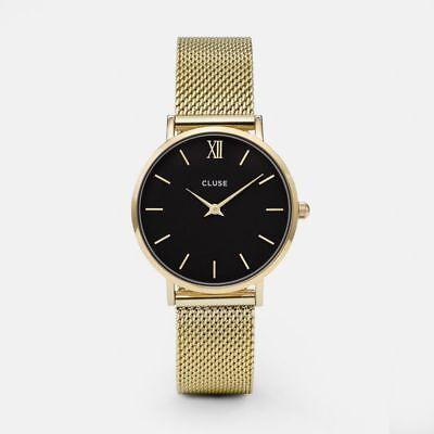 Cluse CL30012 Women's Mesh Gold  Black Dial Yellow Steel Bracelet Watch