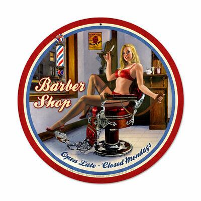 Girl Shop - VINTAGE STYLE METAL SIGN Pinup Girl  Barber Shop  14 x 14