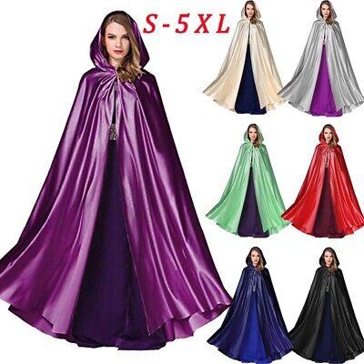 Full Length Cape (Women Coats Full Length Hooded Cape Bridal Cloak Halloween Cosplay Costume)