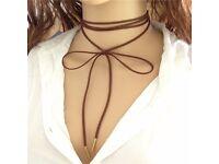 BOHO long wrap choker black leather coffee colour leather
