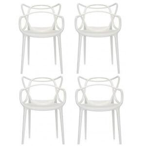 Offerta-4-sedie-MASTERS-Kartell-bianche-white-blanche-Philippe-Starck-design