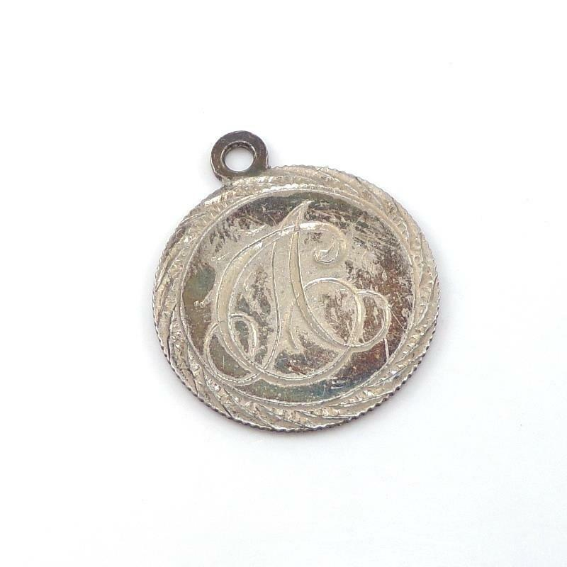 Vtg Victorian Sterling Silver 1893 Love Token Initial Antique Coin Charm LHL4