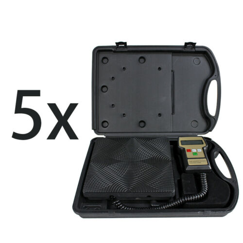 5 Pc Digital Refrigerant Electronic Charging Scale Meters 220 lbs HVAC with Case Business & Industrial