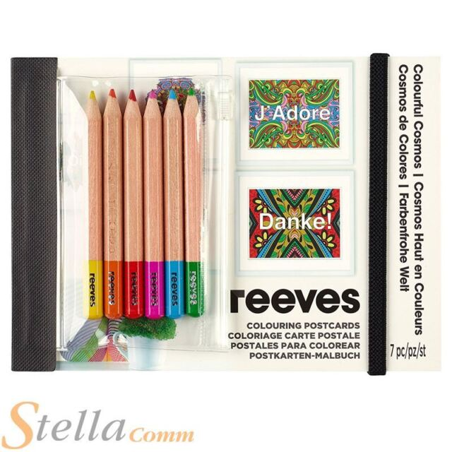 reeves colour by numbers sketch drawing penciis colouring postcards