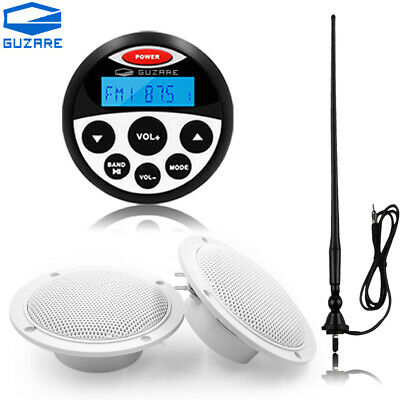 Marine Bluetooth Stereo System and 4'' Boat Speaker and FM AM Radio Antenna