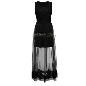 Women Semi Sheer Mesh Overlay Crochet Hem Double Layer Maxi Lace Boho Knit Dress