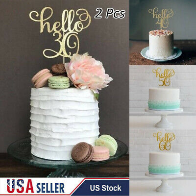 30th Birthday Cake Toppers (2Pcs Gold Happy 30th/40/50/60 Birthday Wedding Party Cake Topper Flag)
