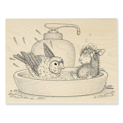 - HOUSE MOUSE Bird Bath Wood Mounted Rubber Stamp Stampendous HMR120 NEW