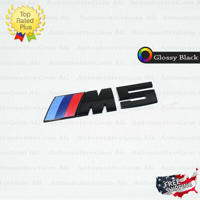 BMW M5 Emblem Glossy Black M Series Badge Rear Trunk Logo Sticker Competition