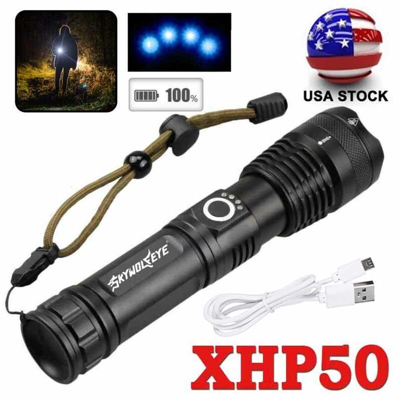XHP P50 MOST POWERFUL Focus FLASHLIGHT USB Zoom TORCH HUNTIN