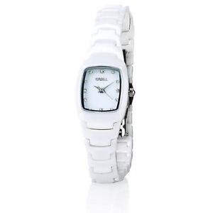 Crell Damenuhr mit hochwertigem Keramik-Armband, weiß