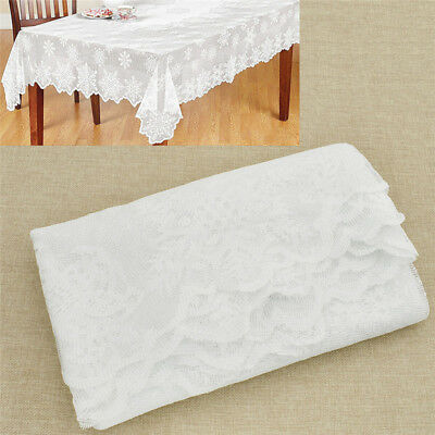 Weiß Spitze Tischdecke Schneeflocken Muster Tischtuch Hochzeit Party Deko 1x