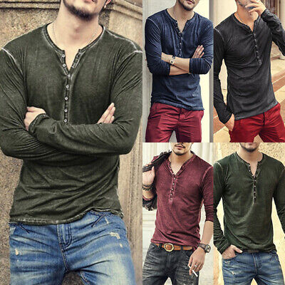 Casuals Long Sleeve Tee (Mens Casual Long Sleeve T-shirt Tee Shirt Top Grandad Button Neck Blouse Tee)