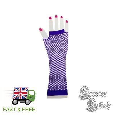 Sexy Halloween Purple Fishnet Gloves Retro Raver Fancy Dress Costume Fetish - Raver Costume Halloween