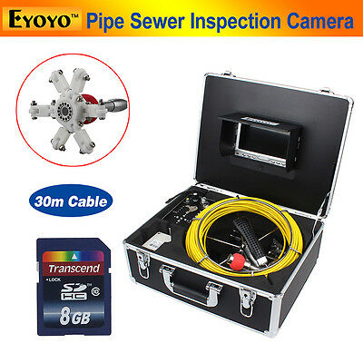 7 8gb 30m Sewer Camera Pipe Pipeline Drain Inspection Waterproof Lcd Dvr Ap77