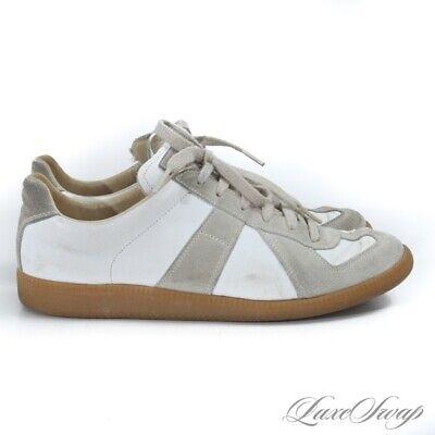#1 MENSWEAR Maison Martin Margiela White Beige GAT Trainers Sneakers Shoes 40 NR
