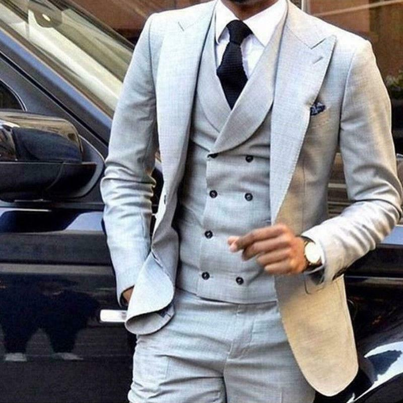 Grey 3 Pieces Double Breasted Groom Tuxedos Groomsmen Blazer Wedding Prom Suits+