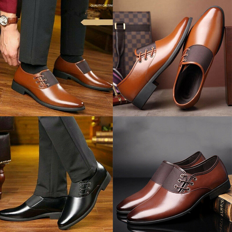 Men's Casual Oxfords Leather Shoes Pointed Toe Business Dress Formal Office Work