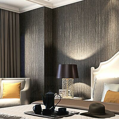 Metallic Vertical Faux Grass-cloth  Emboss  Texture Wallpaper Modern Plain Solid - Faux Grass Cloth
