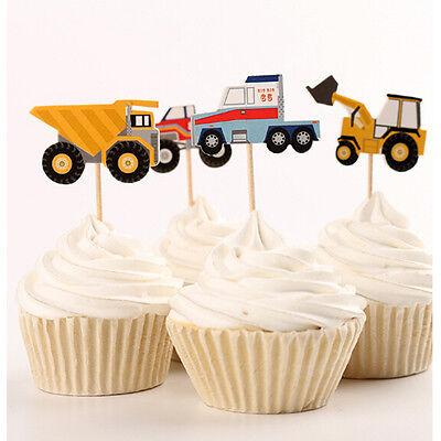 24pcs Car model cake toppers cupcake picks birthday party decorations - Car Birthday Cake