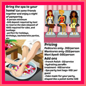 Spa parties in your home, bring the spa to you!
