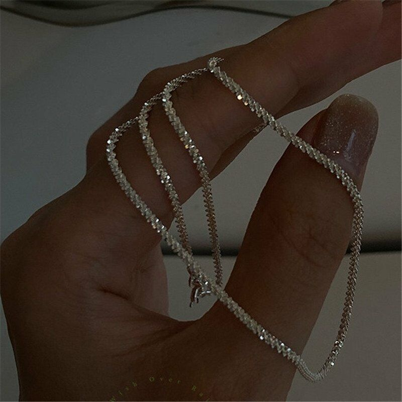 Jewellery - Fashion 925 Silver Gypsophila Flash Chain Necklace Clavicle Women Jewelry Gifts