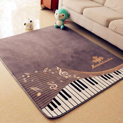 Fashion Piano Keyboard Music Rug Kids Play Rug Bedroom Livin