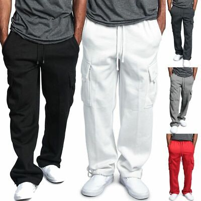 G-style Mens Heavy Weight Fleece Cargo Pocket Sweat Pants Jogger Casual Trousers