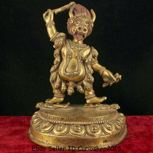 """8"""" Unique Tibet Nepal Bronze 24k Gold Gilt Vajrapani Chana Dorje Buddha Statue"""