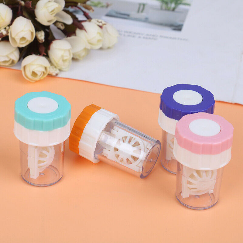 1Pc Portable Contact Lens Cleaner Case Box Manual Rotation W