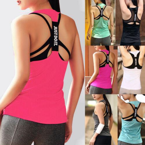 Damen Sport T-Shirt Ärmellos Tanktop Tank Vest Sommer Trägertop Sporthemd Yoga