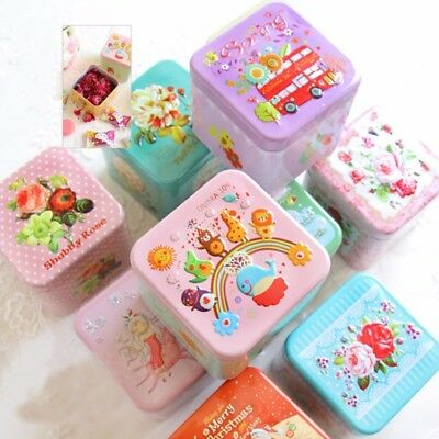 3D Relief Square Candy Cookies Storage Box Gift Boxes Tea Container Iron Tin - Personalized Tea Tins